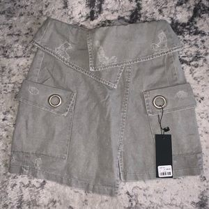 CARMAR distresses denim skirt, brand new, tags on